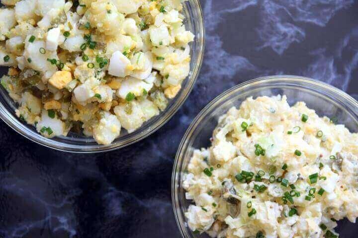 סלט תפוחי אדמה עם מיונז או עם שמן זית